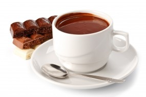 какао, чашка, шоколад, блюдце, ложка