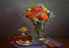 чай, букет, розы, пирожные