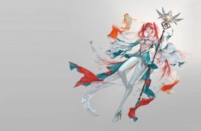 фэнтези, девушки, summoner, russian, blue, кои, посох, арт, рыбка, магия