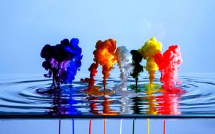 дым, вода, цвета, потеки