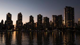 отражение, небо, река, канада, ванкувер, городской пейзаж