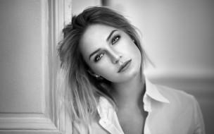 рубашка, лицо, блондинка, черно-белая, модель