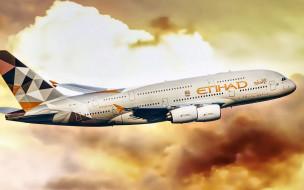 airbus a380-861, авиация, пассажирские самолёты, пассажирский, самолет, гражданская, airbus, авиакомпания, оаэ, a380