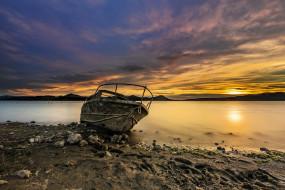лодка, берег, закат