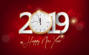 праздничные, векторная графика , новый год, с, новым, годом, цифры, золотая, надпись, часы, красный, фон