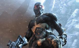 видео игры, crysis, скалы, снег, оружие, броня, воин