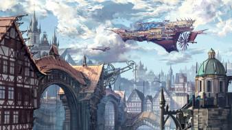 фэнтези, иные миры,  иные времена, рисунок, город, здания, city, fantasy, арт, фантастика