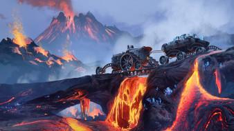 фэнтези, транспортные средства, рисунок, огонь, вулкан, fantasy, арт, добыча