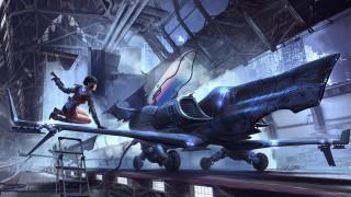 Рисунок, Девушка, Самолет, Girl, Арт, Фантастика, Jet