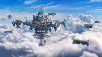 Рисунок, Облака, Небо, Станция, Дирижабль, Fantasy