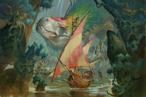 Ящер, Корабль, Монстр, Динозавр, Art, Фантастика