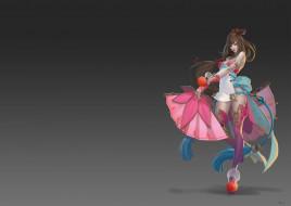 арт, веер, игра, дизайн, девушка, костюм