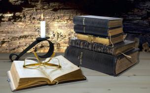 разное, канцелярия,  книги, фолианты, очки, свеча