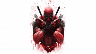 рисованное, комиксы, костюм, оружие, герой, дедпул