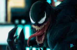 Migue Villaf, by Migue Villaf, Venom in the city, Creatures, Marvel, Зубы, Язык, Симбиот, Venom, Веном