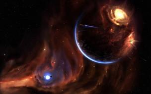 галактика, туманность, звезды, корабли, взрыв, планеты
