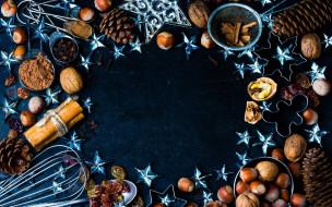 праздничные, угощения, изюм, специи, звездочки, орехи, шишки