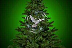 праздничные, Ёлки, голубь, елка