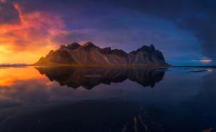 рассвет, Исландия, отражение, горы