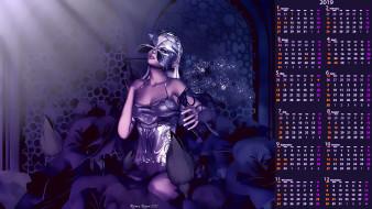 цветы, маска, девушка