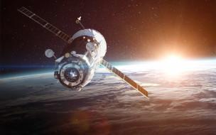Satellite, Cosmos, Vadim Sadovski, Поверхность, Спутник, Technique, Орбита, Sun, Orbit, Техника, Earth, Art, Stars, Арт, Земля