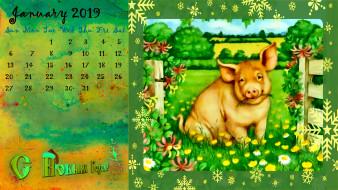цветы, растения, свинья, поросенок, природа