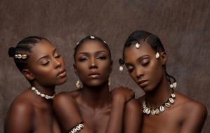чернокожие, мулатки, портрет, темнокожие, Девушки, три, макияж