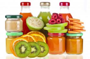 киви, апельсин, яблоко, малина, фрукты, пюре, соки