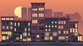 город, городской вид, произведения искусства