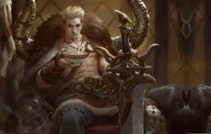 Taurus, меч, трон, fantasy, illustrator, lius lasahido
