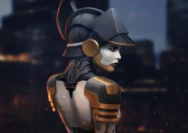 спина, девушка, взгляд, cyberpunk, профиль, арт