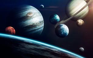 Science Fiction, System, Jupiter, Uranus, Луна, Сатурн, Mercury, Venus, Neptune, Mars, Система, Уран, Earth, Space, Saturn