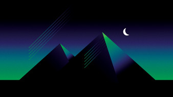 горы, луна, ночь