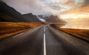 дорога, море, Исландия