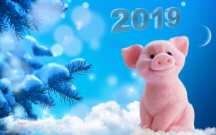 снег, ёлка, луна, снежинки, год, свиньи, новый год, 2019