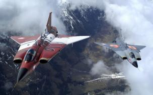 истребители, полет, самолеты, облака, панорама
