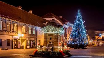 площадь, ёлка, здание, огни, Загреб