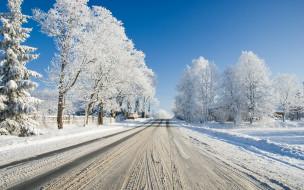 снег, дорога, зимняя