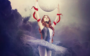девушка, балерина, шар, тучи, ленты