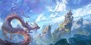 фэнтези, драконы, горы, рисунок, дракон, скалы, китай, world, fantasy