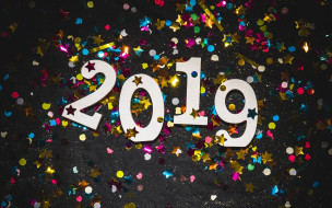 белые цифры, мишура, 2019 год, открытка, с Новым годом, украшение, искусство