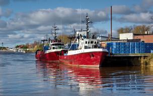 корабли, грузовые суда, пристань