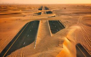 шоссе, пустыня, песок