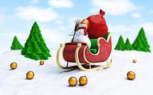 праздничные, векторная графика , новый год, деревья, снежинки, снег, снеговик, сани