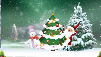 праздничные, векторная графика , новый год, дед, мороз, елка, снеговик
