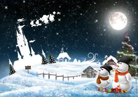 шарф, шапка, снеговик, елка, снег, зима