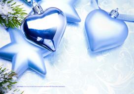 сердце, звезда, игрушка, ветка