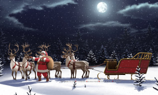 мешок, сани, снег, зима, олень, санта клаус