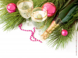 бокал, фужер, ветка, игрушка, шампанское, бутылка