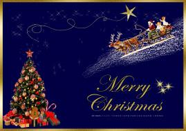 елка, игрушка, шар, подарок, олень, сани, звезда